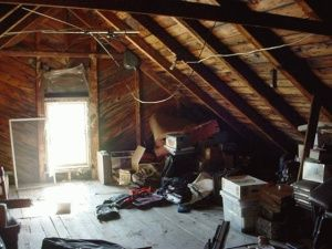 cluttered attic